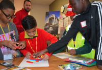 From left, Keavion Buggs, Roshan Kami, Amarion Nichols and Emmanuel Aoudiek learn what a project manager faces when building